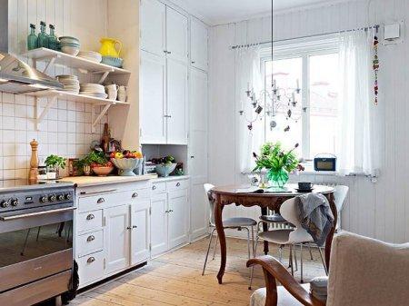 Простота и удобство скандинавского стиля на кухне